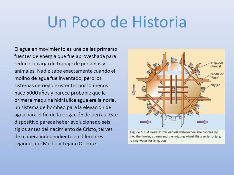 Un Poco de Historia El agua en movimiento es una de las primeras fuentes de energía que fue aprovechada para reducir la carga de trabajo de personas y