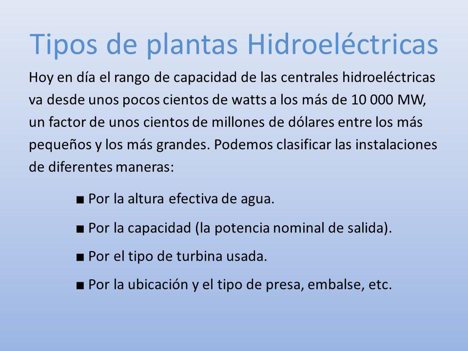 Tipos de plantas Hidroeléctricas Hoy en día el rango de capacidad de las centrales hidroeléctricas va desde unos pocos cientos de watts a los más de 1
