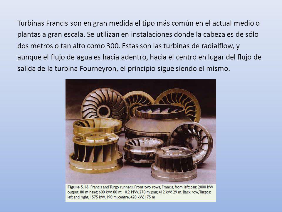 Turbinas Francis son en gran medida el tipo más común en el actual medio o plantas a gran escala. Se utilizan en instalaciones donde la cabeza es de s