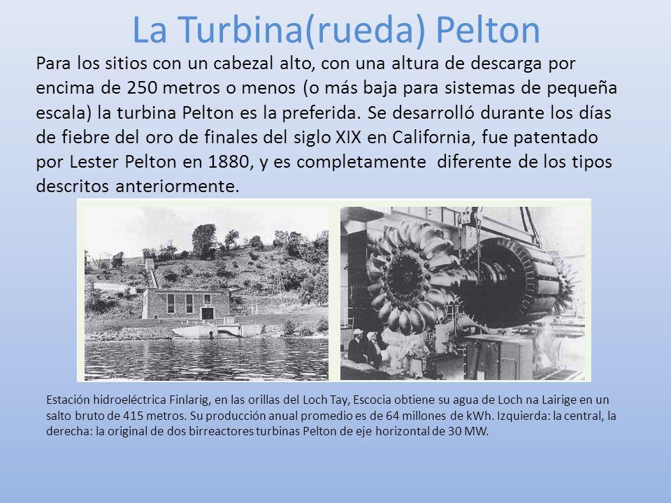 La Turbina(rueda) Pelton Para los sitios con un cabezal alto, con una altura de descarga por encima de 250 metros o menos (o más baja para sistemas de