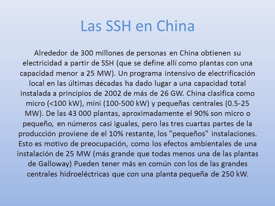 Las SSH en China Alrededor de 300 millones de personas en China obtienen su electricidad a partir de SSH (que se define allí como plantas con una capa