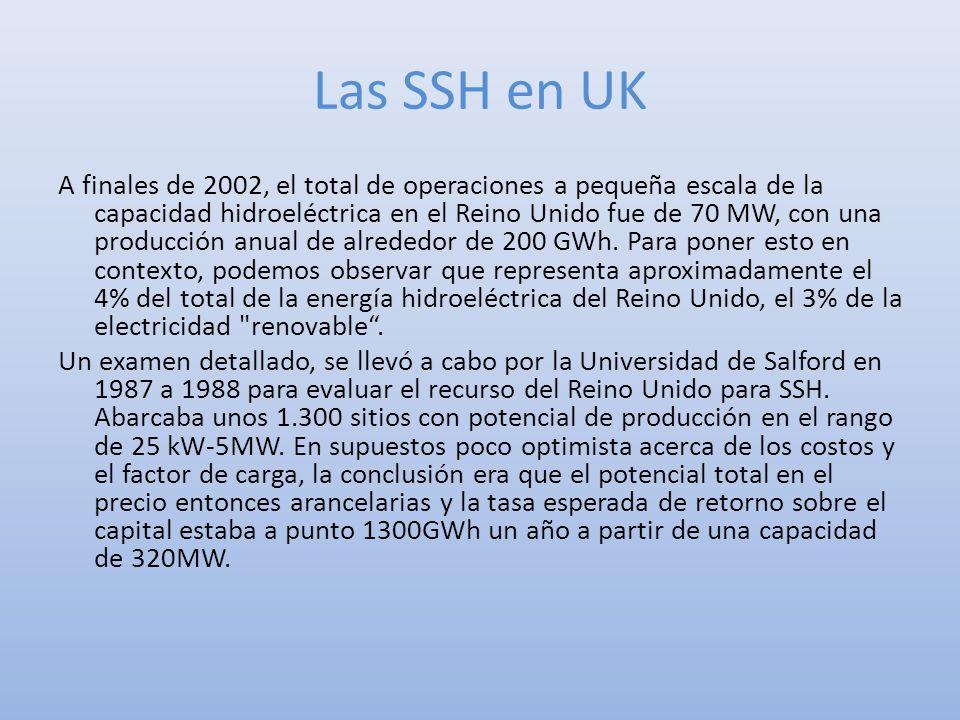 Las SSH en UK A finales de 2002, el total de operaciones a pequeña escala de la capacidad hidroeléctrica en el Reino Unido fue de 70 MW, con una produ
