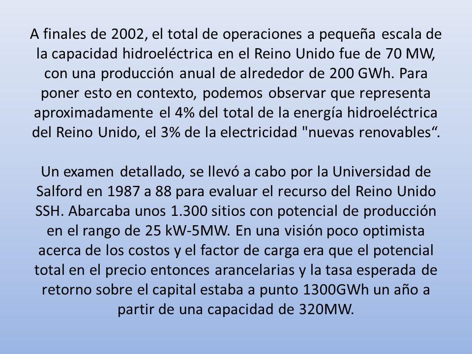 A finales de 2002, el total de operaciones a pequeña escala de la capacidad hidroeléctrica en el Reino Unido fue de 70 MW, con una producción anual de