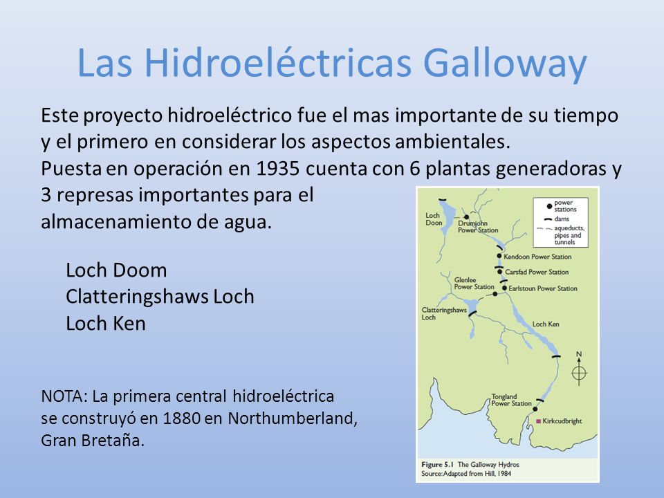 Las Hidroeléctricas Galloway Este proyecto hidroeléctrico fue el mas importante de su tiempo y el primero en considerar los aspectos ambientales. Pues