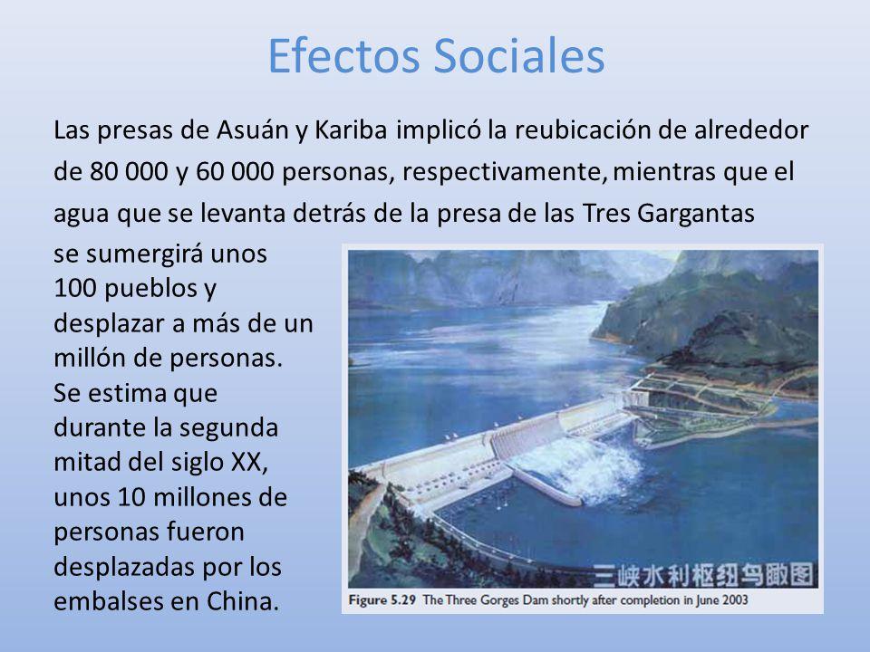 Efectos Sociales Las presas de Asuán y Kariba implicó la reubicación de alrededor de 80 000 y 60 000 personas, respectivamente, mientras que el agua q