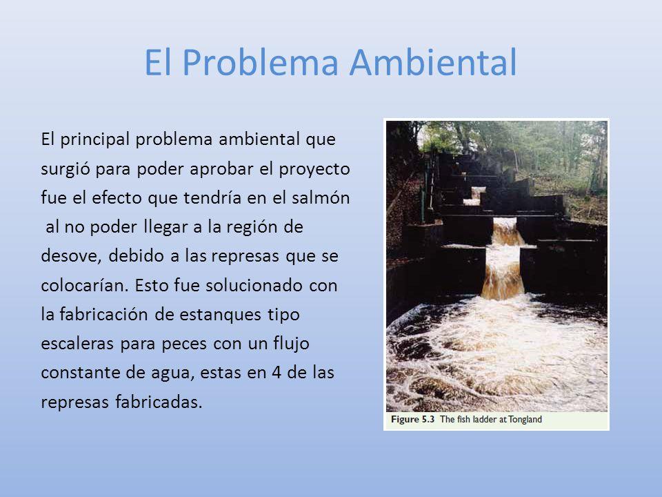 El Problema Ambiental El principal problema ambiental que surgió para poder aprobar el proyecto fue el efecto que tendría en el salmón al no poder lle