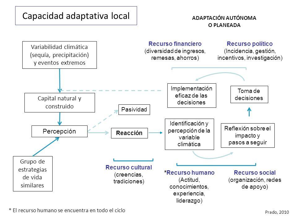 Capacidad adaptativa local Pasividad Reacción Identificación y percepción de la variable climática Reflexión sobre el impacto y pasos a seguir Toma de decisiones Implementación eficaz de las decisiones Recurso financiero (diversidad de ingresos, remesas, ahorros) Recurso político (Incidencia, gestión, incentivos, investigación) ADAPTACIÓN AUTÓNOMA O PLANEADA Recurso social (organización, redes de apoyo) *Recurso humano (Actitud, conocimientos, experiencia, liderazgo) Variabilidad climática (sequía, precipitación) y eventos extremos Grupo de estrategias de vida similares Recurso cultural (creencias, tradiciones) Capital natural y construido Percepción * El recurso humano se encuentra en todo el ciclo Prado, 2010