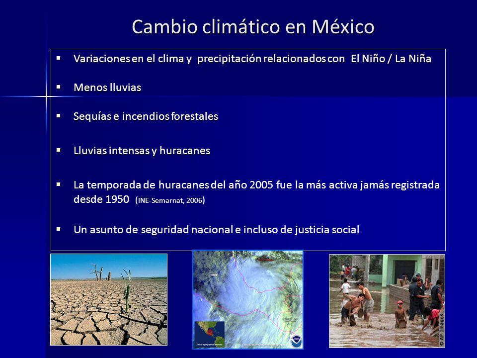 Cambio climático en México Variaciones en el clima y precipitación relacionados con El Niño / La Niña Variaciones en el clima y precipitación relacionados con El Niño / La Niña Menos lluvias Menos lluvias Sequías e incendios forestales Sequías e incendios forestales Lluvias intensas y huracanes Lluvias intensas y huracanes La temporada de huracanes del año 2005 fue la más activa jamás registrada desde 1950 ( INE-Semarnat, 2006 ) Un asunto de seguridad nacional e incluso de justicia social