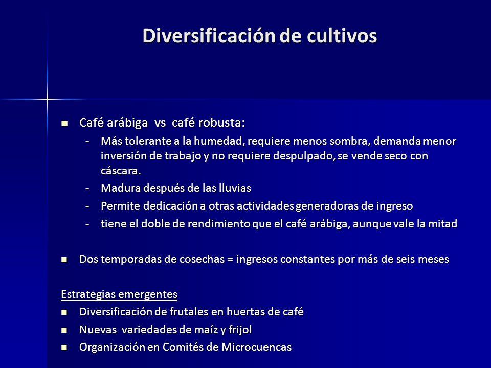 Diversificación de cultivos Café arábiga vs café robusta: Café arábiga vs café robusta: -Más tolerante a la humedad, requiere menos sombra, demanda menor inversión de trabajo y no requiere despulpado, se vende seco con cáscara.