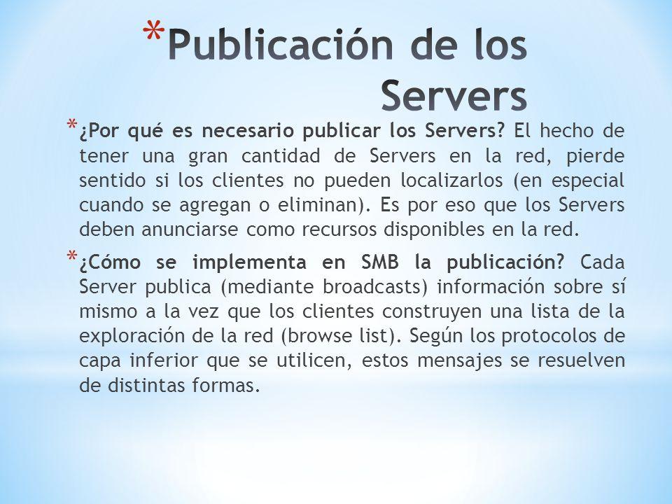 * ¿Por qué es necesario publicar los Servers? El hecho de tener una gran cantidad de Servers en la red, pierde sentido si los clientes no pueden local