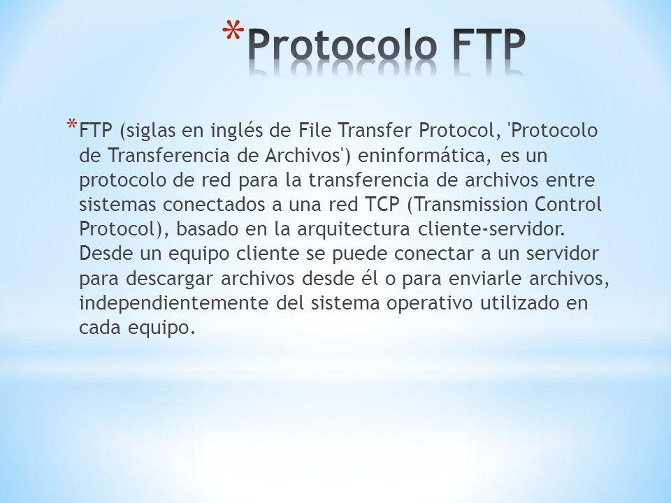 * FTP (siglas en inglés de File Transfer Protocol, 'Protocolo de Transferencia de Archivos') eninformática, es un protocolo de red para la transferenc
