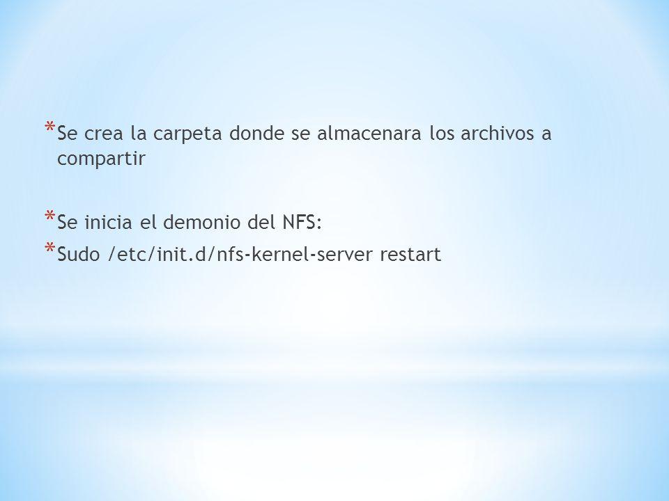 * Se crea la carpeta donde se almacenara los archivos a compartir * Se inicia el demonio del NFS: * Sudo /etc/init.d/nfs-kernel-server restart