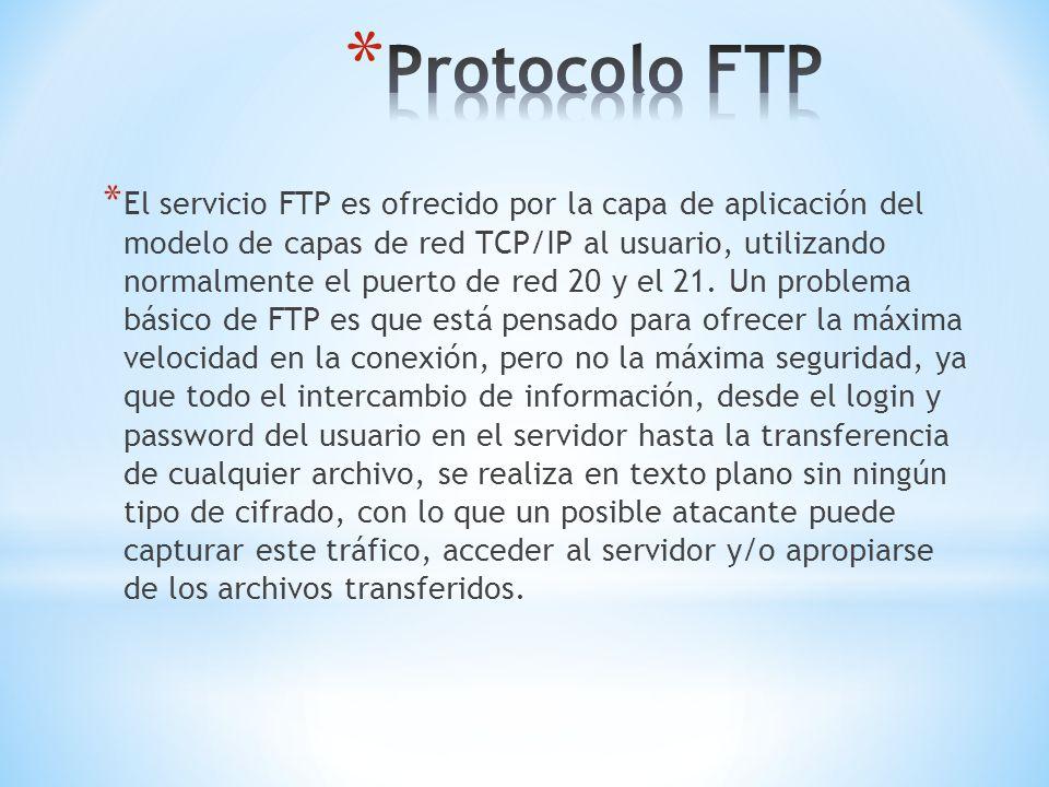 * El servicio FTP es ofrecido por la capa de aplicación del modelo de capas de red TCP/IP al usuario, utilizando normalmente el puerto de red 20 y el