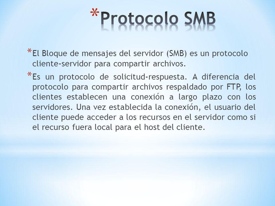 * El Bloque de mensajes del servidor (SMB) es un protocolo cliente-servidor para compartir archivos. * Es un protocolo de solicitud-respuesta. A difer