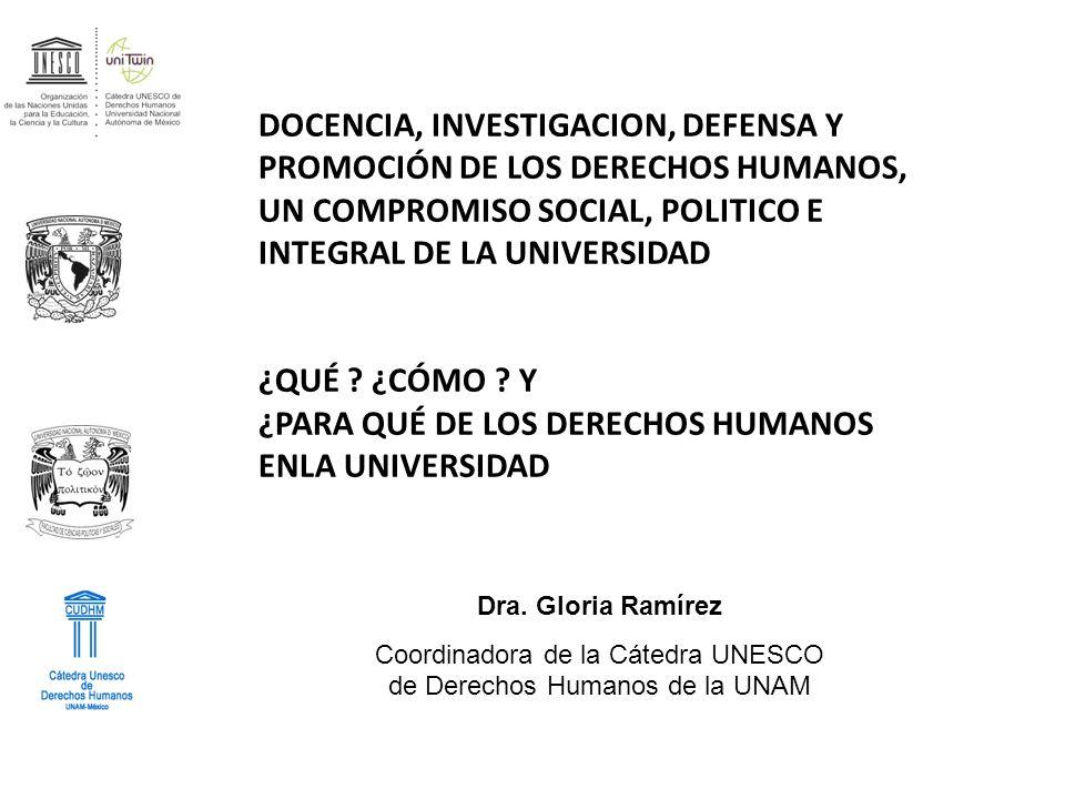 Dra. Gloria Ramírez Coordinadora de la Cátedra UNESCO de Derechos Humanos de la UNAM DOCENCIA, INVESTIGACION, DEFENSA Y PROMOCIÓN DE LOS DERECHOS HUMA