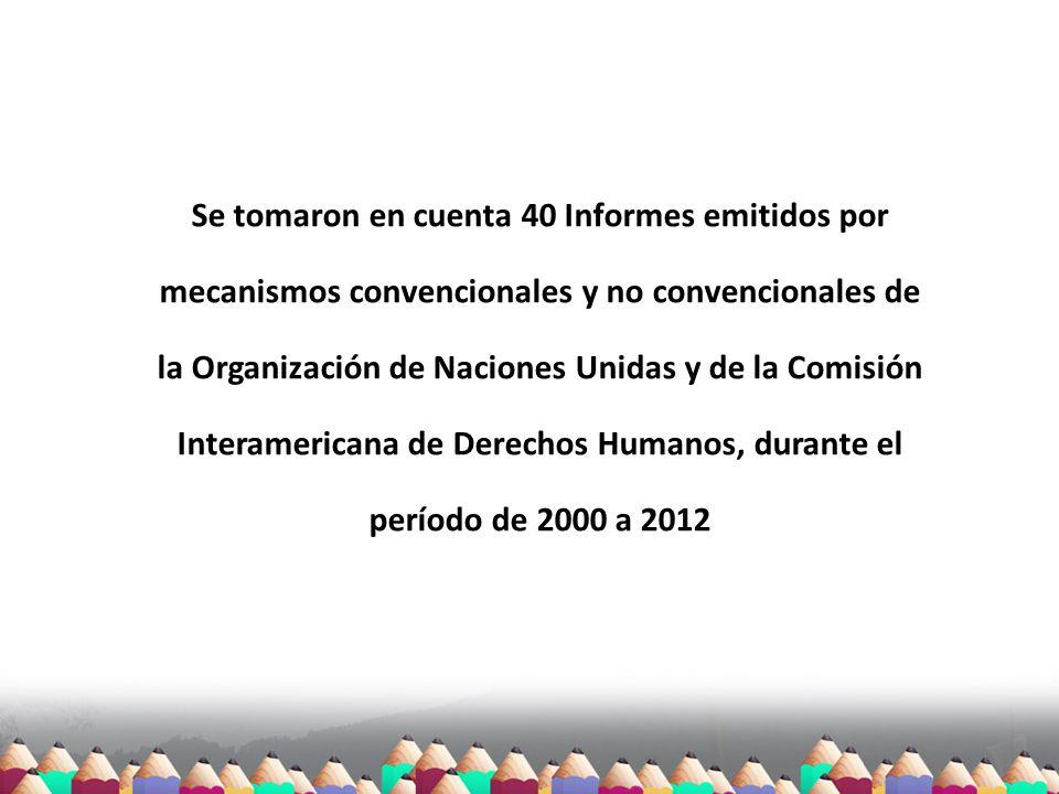 Se tomaron en cuenta 40 Informes emitidos por mecanismos convencionales y no convencionales de la Organización de Naciones Unidas y de la Comisión Int