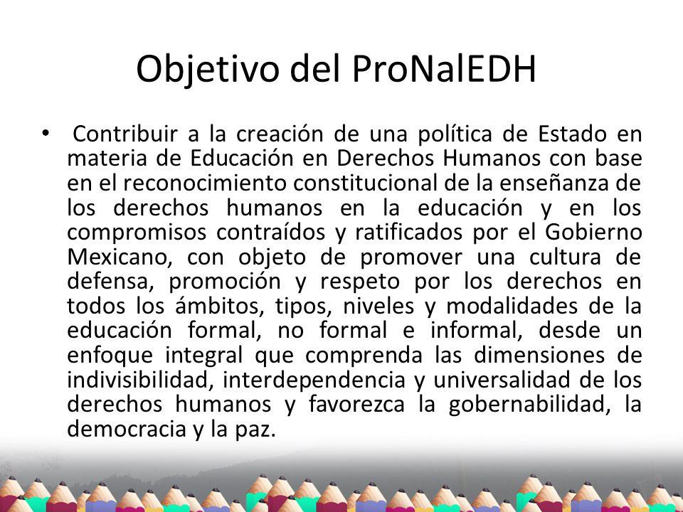 Objetivo del ProNalEDH Contribuir a la creación de una política de Estado en materia de Educación en Derechos Humanos con base en el reconocimiento co