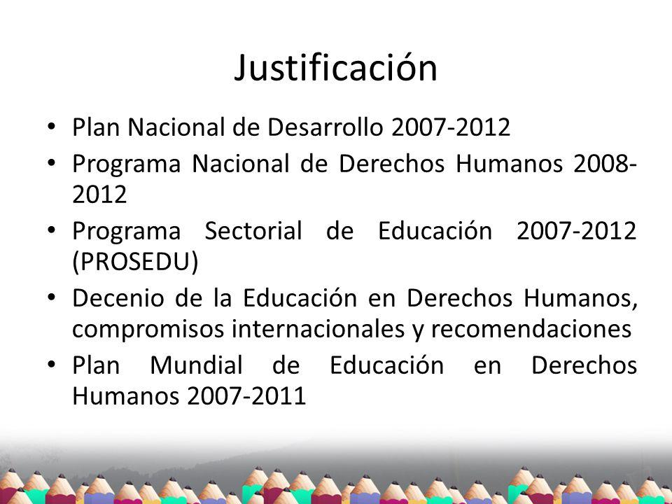 Justificación Plan Nacional de Desarrollo 2007-2012 Programa Nacional de Derechos Humanos 2008- 2012 Programa Sectorial de Educación 2007-2012 (PROSED