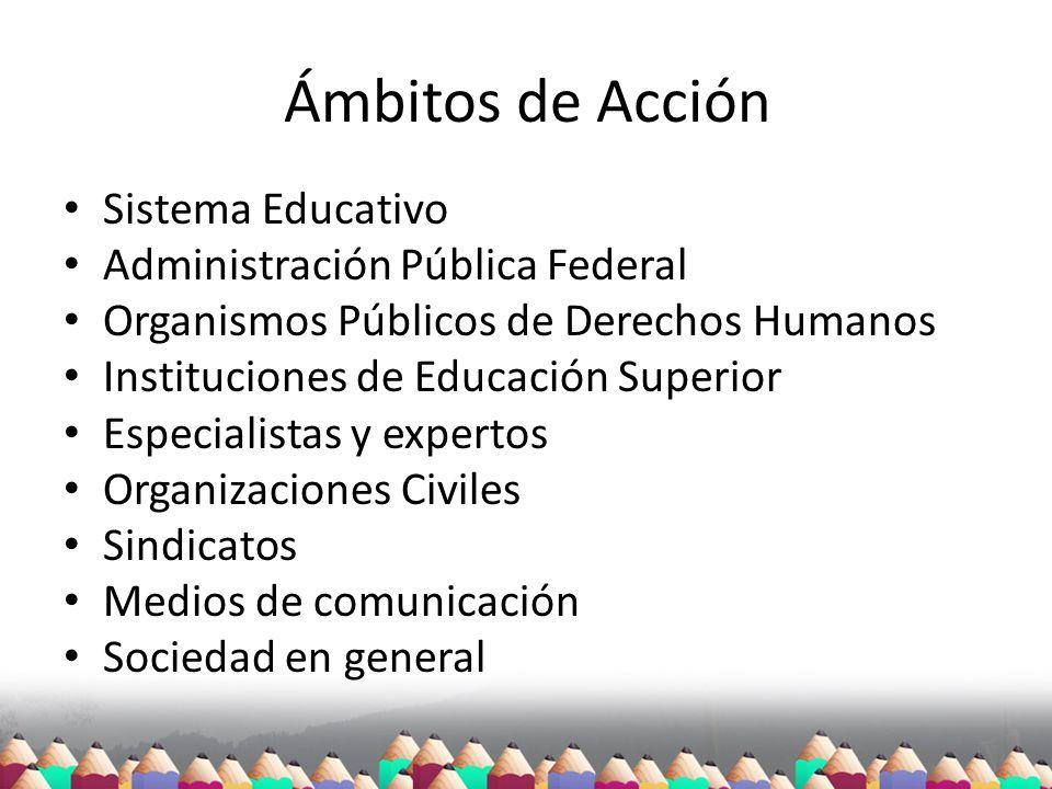 Ámbitos de Acción Sistema Educativo Administración Pública Federal Organismos Públicos de Derechos Humanos Instituciones de Educación Superior Especia