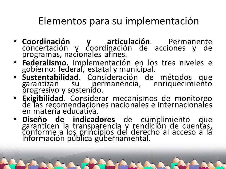Elementos para su implementación Coordinación y articulación. Permanente concertación y coordinación de acciones y de programas, nacionales afines. Fe