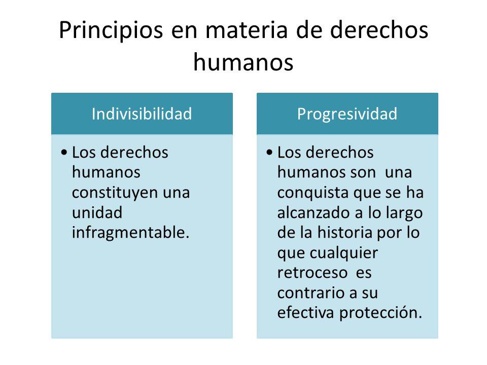 Principios en materia de derechos humanos Indivisibilidad Los derechos humanos constituyen una unidad infragmentable. Progresividad Los derechos human