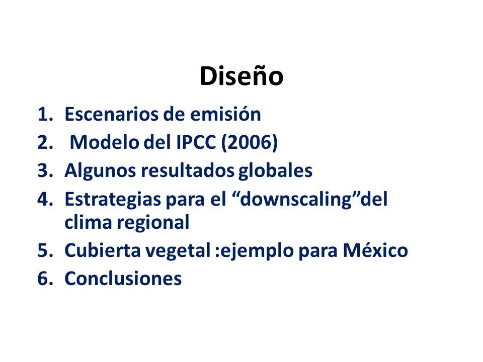 Diseño 1.Escenarios de emisión 2. Modelo del IPCC (2006) 3.Algunos resultados globales 4.Estrategias para el downscalingdel clima regional 5.Cubierta