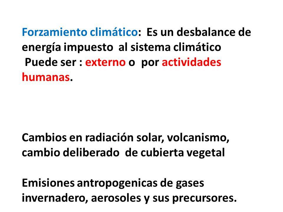 Forzamiento climático: Es un desbalance de energía impuesto al sistema climático Puede ser : externo o por actividades humanas. Cambios en radiación s