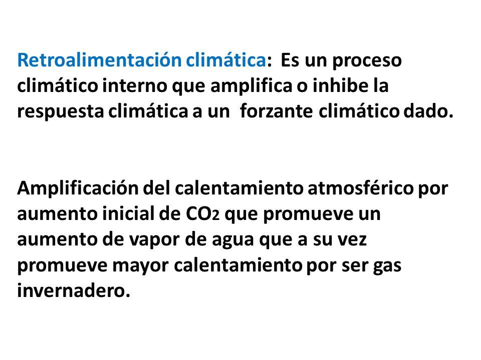 Retroalimentación climática: Es un proceso climático interno que amplifica o inhibe la respuesta climática a un forzante climático dado. Amplificación