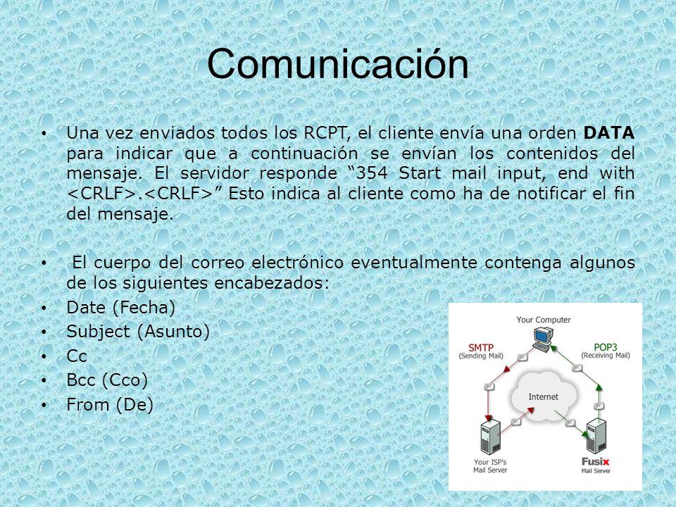 Comunicación Una vez enviados todos los RCPT, el cliente envía una orden DATA para indicar que a continuación se envían los contenidos del mensaje. El