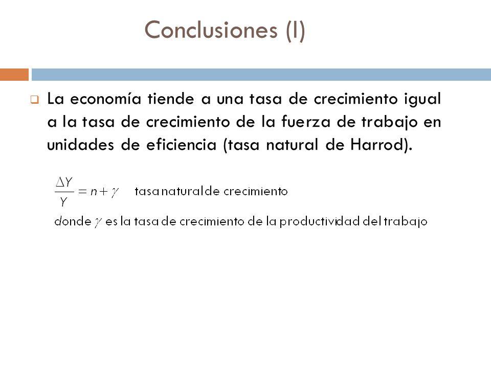 Conclusiones (I) La economía tiende a una tasa de crecimiento igual a la tasa de crecimiento de la fuerza de trabajo en unidades de eficiencia (tasa natural de Harrod).