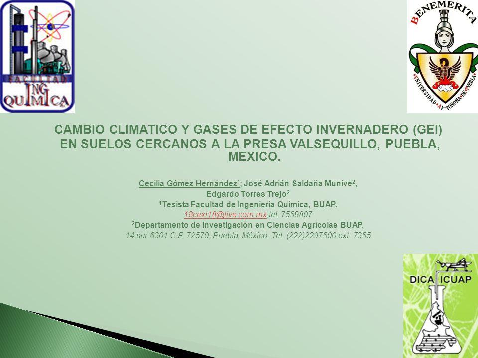 CAMBIO CLIMATICO Y GASES DE EFECTO INVERNADERO (GEI) EN SUELOS CERCANOS A LA PRESA VALSEQUILLO, PUEBLA, MEXICO. Cecilia Gómez Hernández 1 ; José Adriá