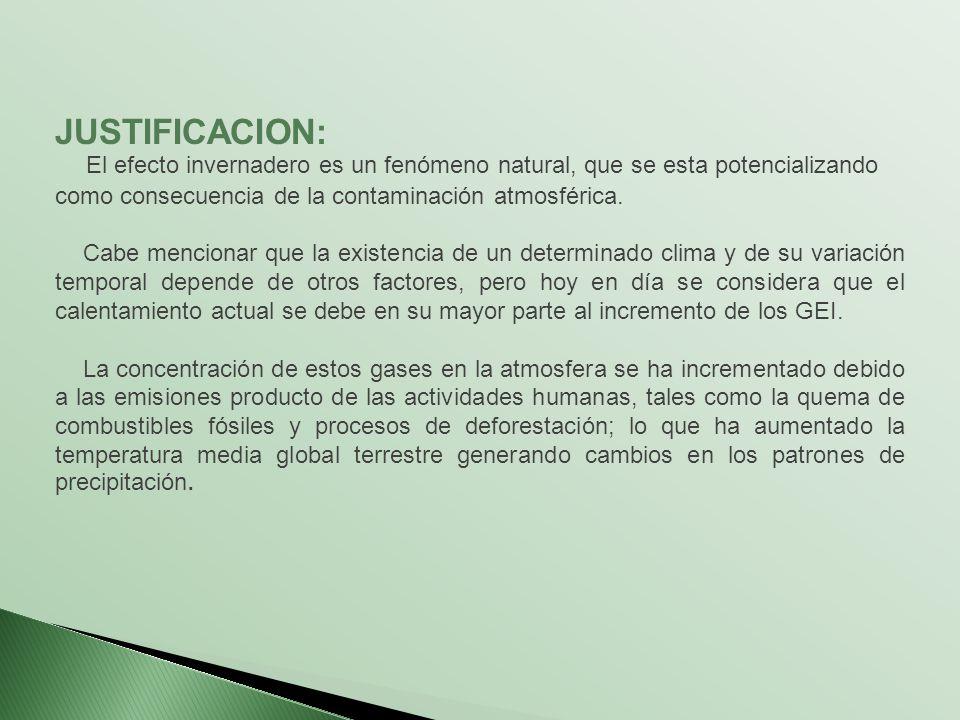 JUSTIFICACION: El efecto invernadero es un fenómeno natural, que se esta potencializando como consecuencia de la contaminación atmosférica. Cabe menci