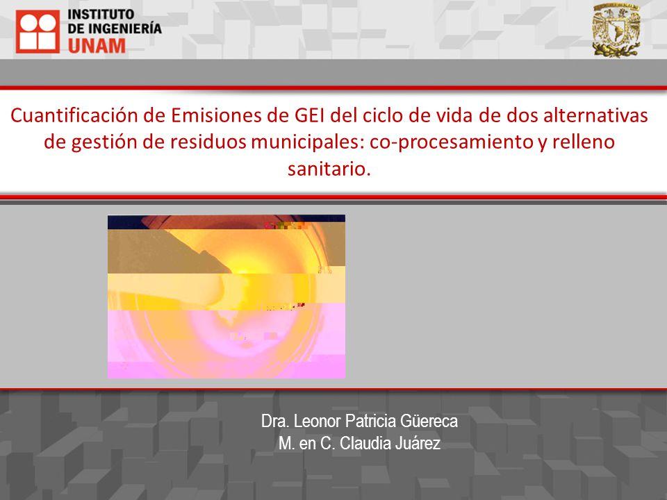 Cuantificación de Emisiones de GEI del ciclo de vida de dos alternativas de gestión de residuos municipales: co-procesamiento y relleno sanitario. Dra