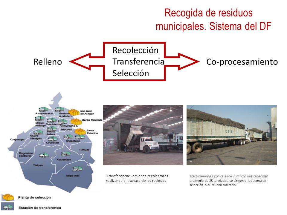 Recolección Transferencia Selección Tractocamiones con cajas de 70m 3 con una capacidad promedio de 25 toneladas, se dirigen a las planta de selección, o al relleno sanitario.