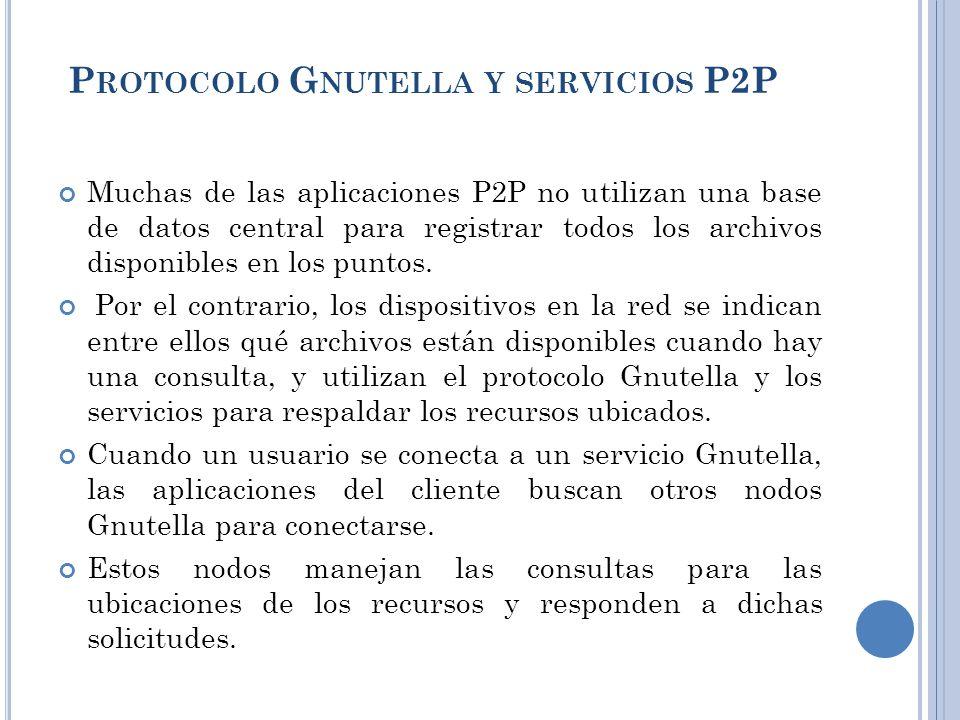 Muchas de las aplicaciones P2P no utilizan una base de datos central para registrar todos los archivos disponibles en los puntos.