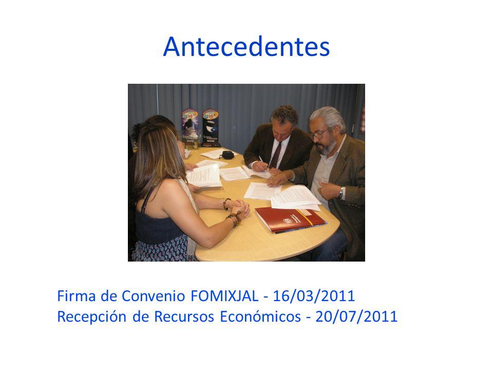 Antecedentes Firma de Convenio FOMIXJAL - 16/03/2011 Recepción de Recursos Económicos - 20/07/2011