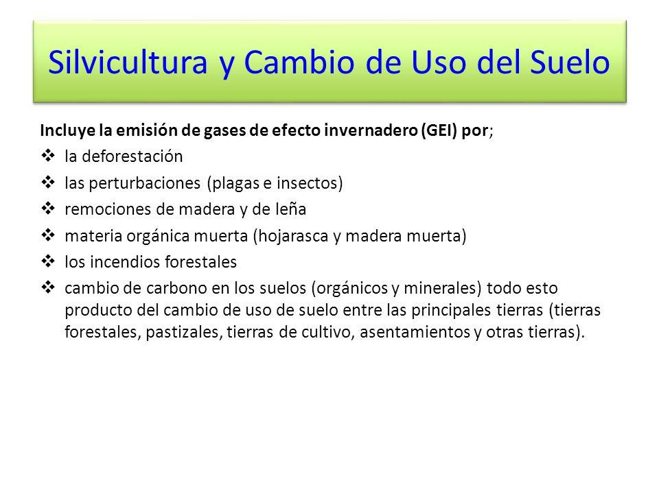 Silvicultura y Cambio de Uso del Suelo Incluye la emisión de gases de efecto invernadero (GEI) por; la deforestación las perturbaciones (plagas e inse