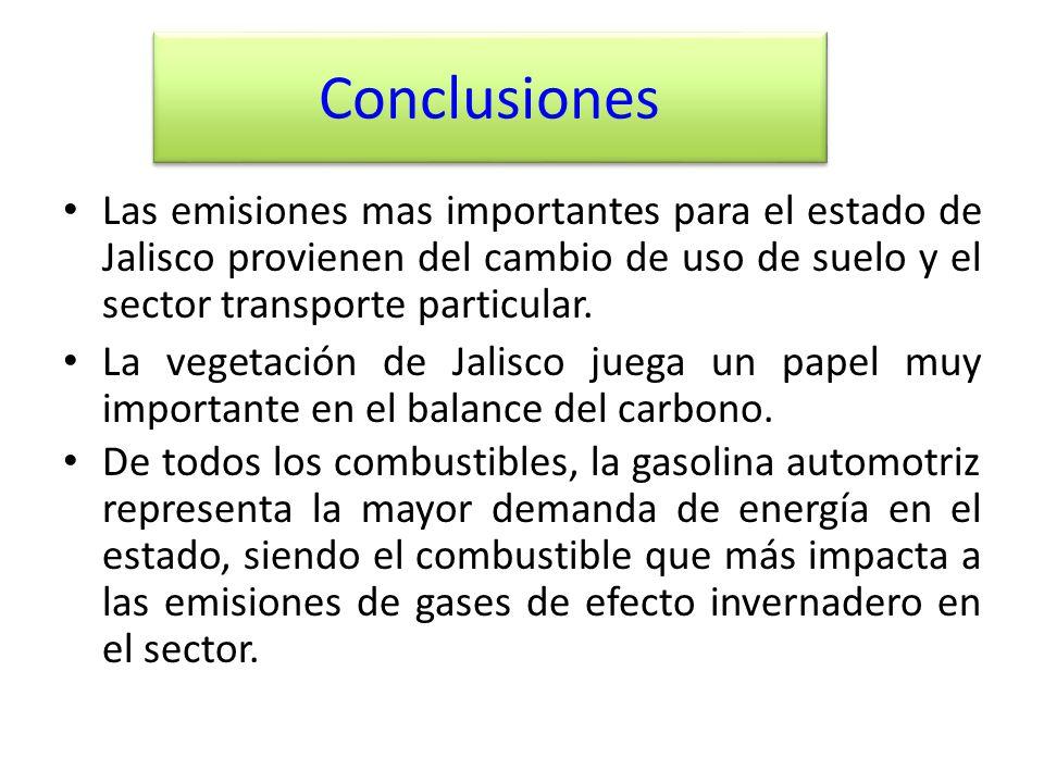 Conclusiones Las emisiones mas importantes para el estado de Jalisco provienen del cambio de uso de suelo y el sector transporte particular. La vegeta