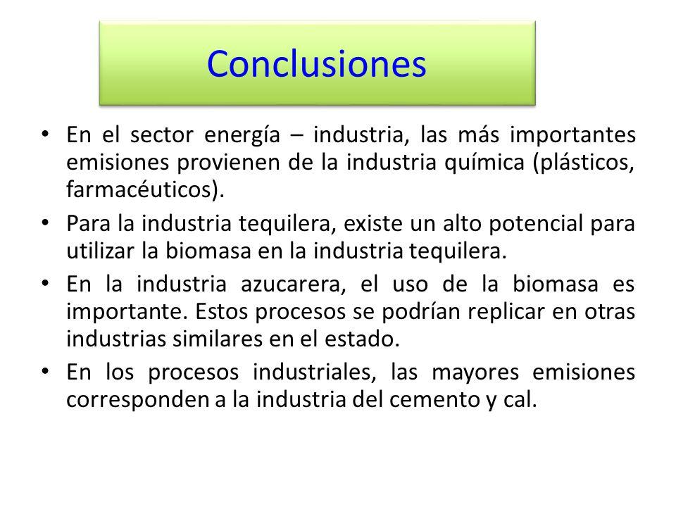Conclusiones En el sector energía – industria, las más importantes emisiones provienen de la industria química (plásticos, farmacéuticos). Para la ind