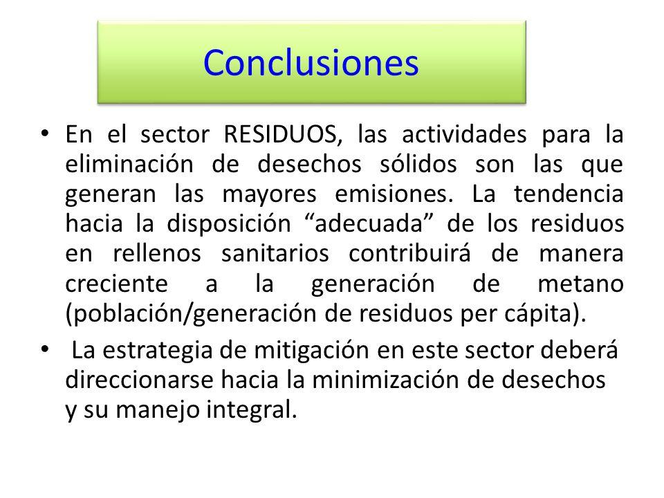 Conclusiones En el sector RESIDUOS, las actividades para la eliminación de desechos sólidos son las que generan las mayores emisiones. La tendencia ha