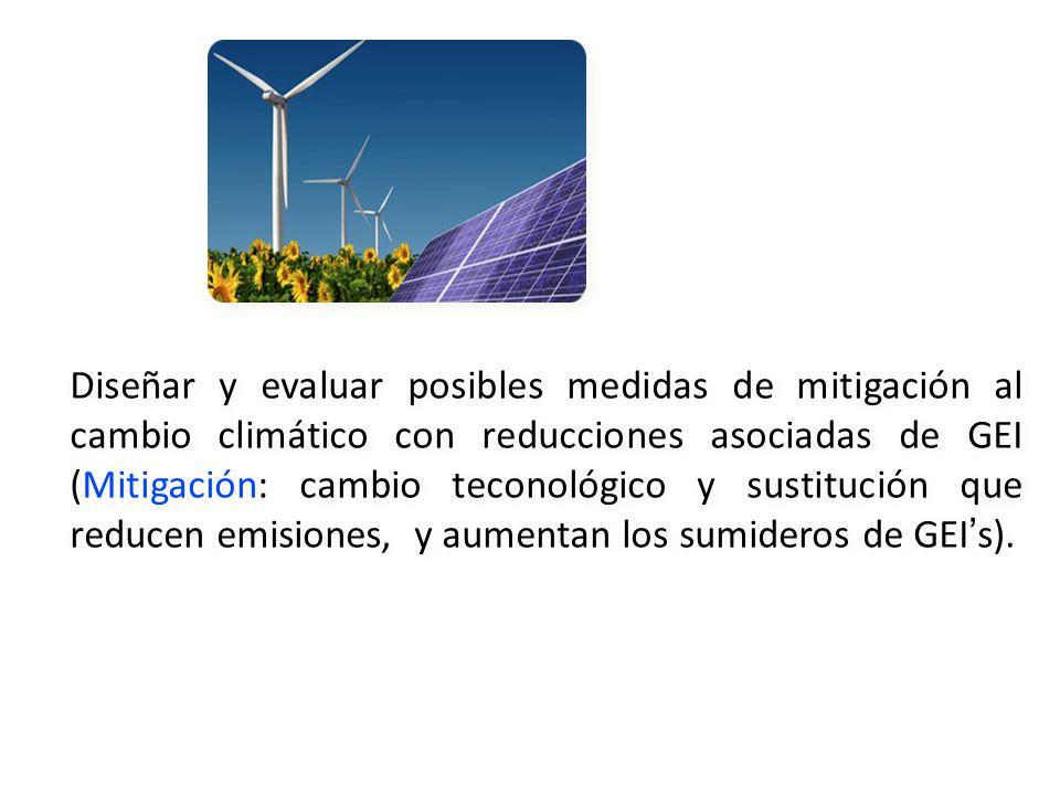 Diseñar y evaluar posibles medidas de mitigación al cambio climático con reducciones asociadas de GEI (Mitigación: cambio teconológico y sustitución q