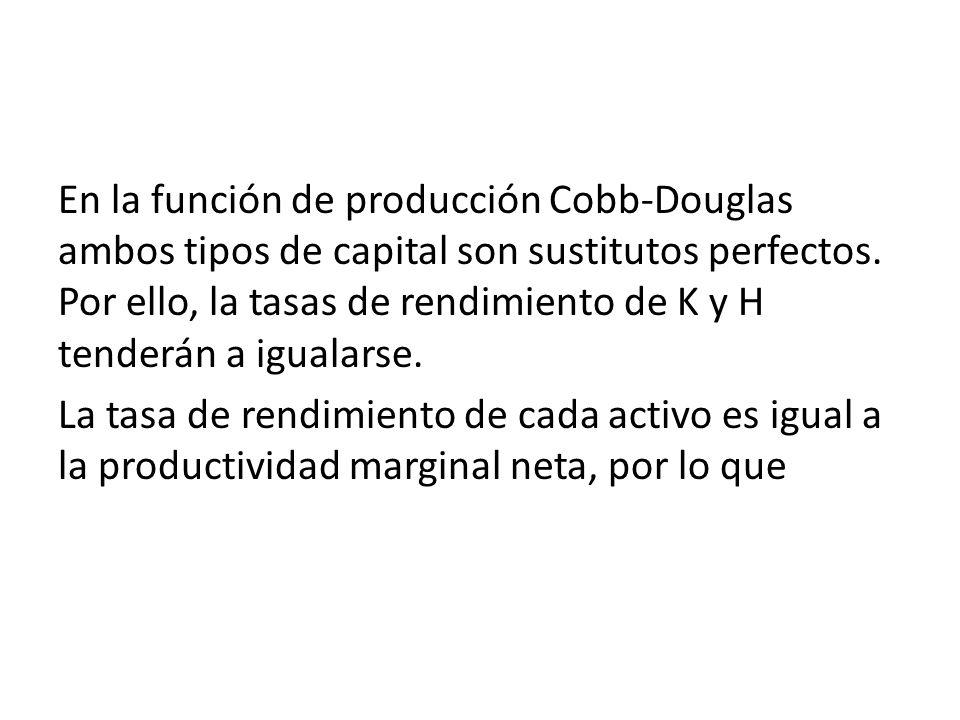 En la función de producción Cobb-Douglas ambos tipos de capital son sustitutos perfectos. Por ello, la tasas de rendimiento de K y H tenderán a iguala