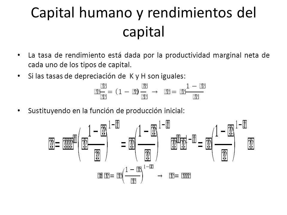 La tasa de rendimiento está dada por la productividad marginal neta de cada uno de los tipos de capital. Si las tasas de depreciación de K y H son igu