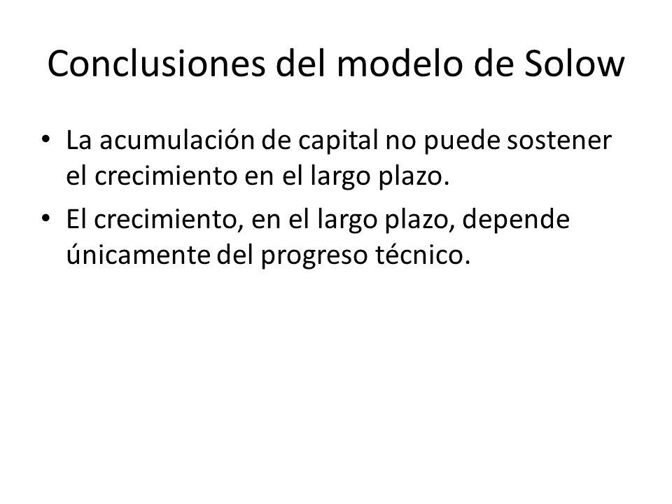 Conclusiones del modelo de Solow La acumulación de capital no puede sostener el crecimiento en el largo plazo. El crecimiento, en el largo plazo, depe