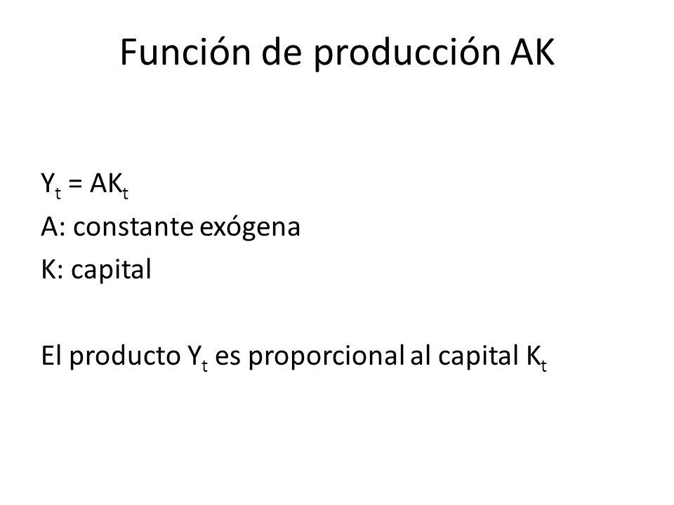 Función de producción AK Y t = AK t A: constante exógena K: capital El producto Y t es proporcional al capital K t