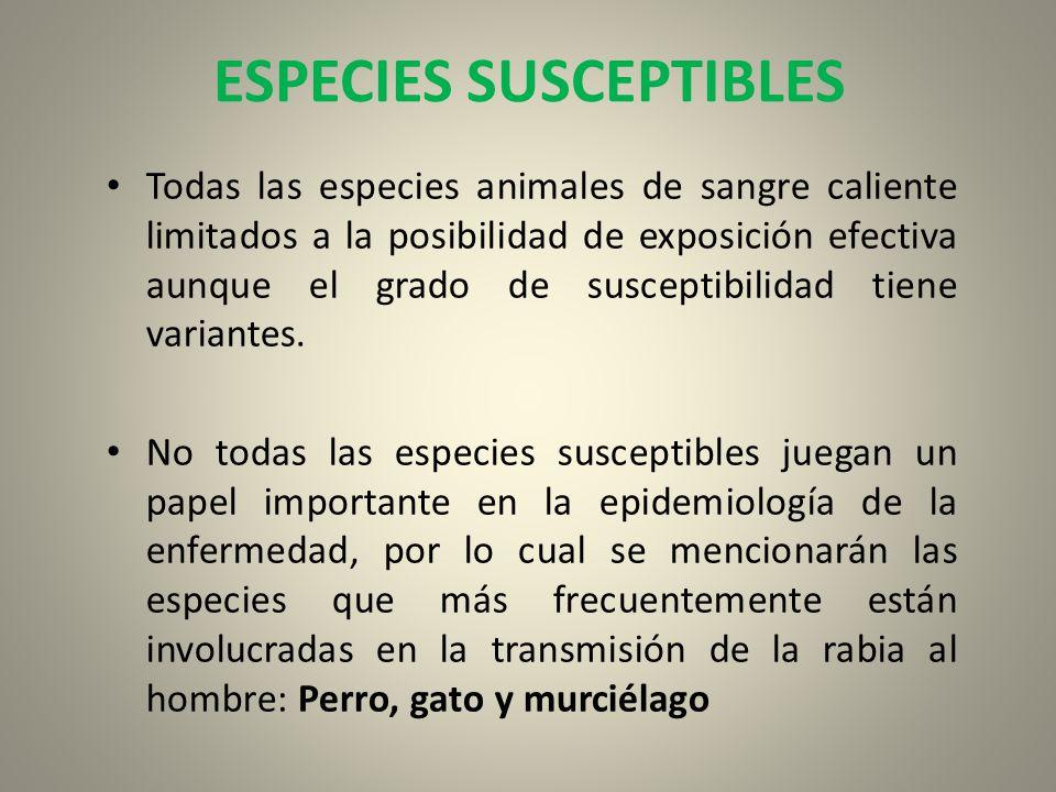 ESPECIES SUSCEPTIBLES Todas las especies animales de sangre caliente limitados a la posibilidad de exposición efectiva aunque el grado de susceptibili