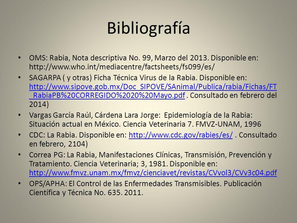 Bibliografía OMS: Rabia, Nota descriptiva No. 99, Marzo del 2013. Disponible en: http://www.who.int/mediacentre/factsheets/fs099/es/ SAGARPA ( y otras