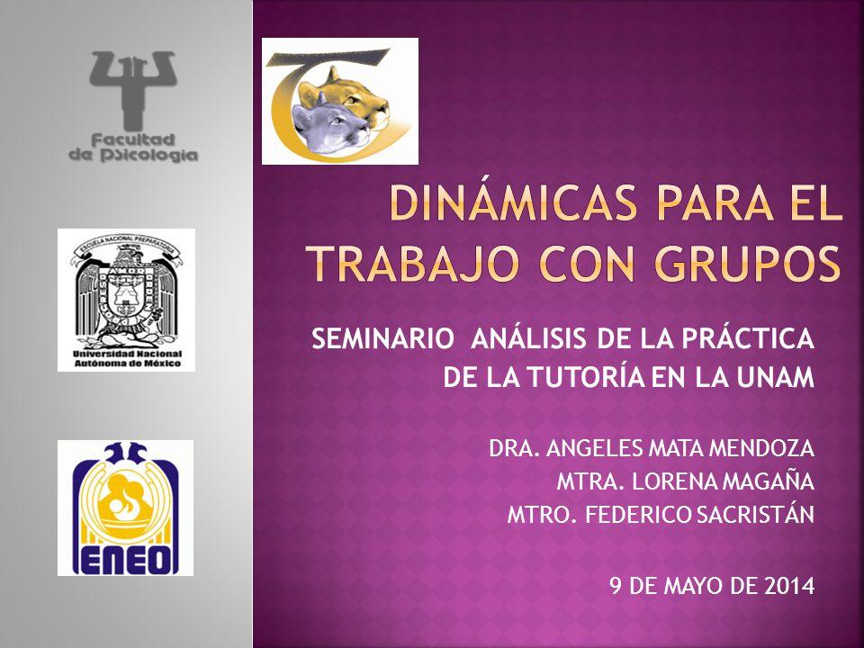 SEMINARIO ANÁLISIS DE LA PRÁCTICA DE LA TUTORÍA EN LA UNAM DRA. ANGELES MATA MENDOZA MTRA. LORENA MAGAÑA MTRO. FEDERICO SACRISTÁN 9 DE MAYO DE 2014