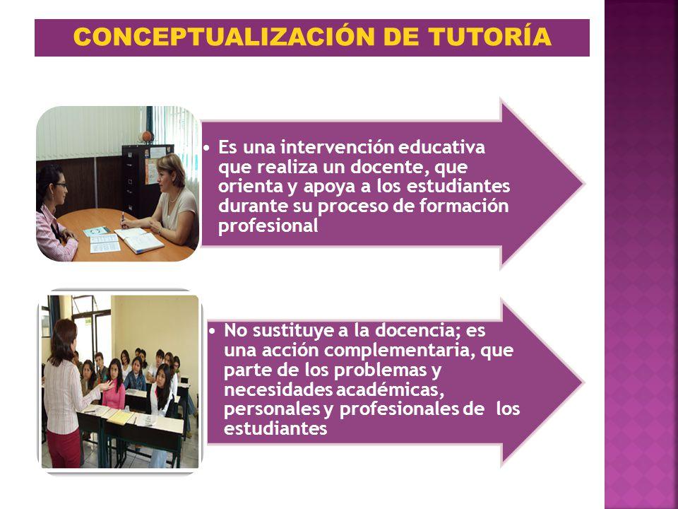 CONCEPTUALIZACIÓN DE TUTORÍA Es una intervención educativa que realiza un docente, que orienta y apoya a los estudiantes durante su proceso de formaci