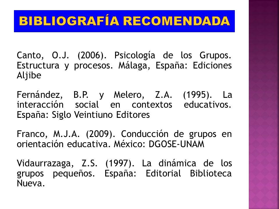 Canto, O.J. (2006). Psicología de los Grupos. Estructura y procesos. Málaga, España: Ediciones Aljibe Fernández, B.P. y Melero, Z.A. (1995). La intera
